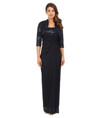 Adrianna Papell Sequin Embroidered Floral Bodice With Tulle Skirt Navy Women's Dress
