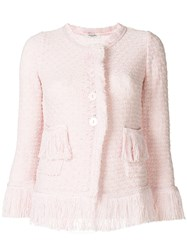 Charlott Fringe Knit Jacket Pink And Purple