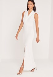 Missguided Wrap Front Scuba Maxi Dress Ivory Ivory
