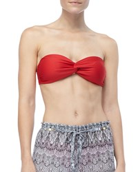 Luxe By Lisa Vogel Premiere Twist Front Bandeau Swim Top Lipstick Red