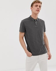 Selected Homme Polo Shirt In Overdyed Wash Grey