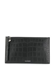 Alexander Mcqueen Crocodile Effect Clutch Black