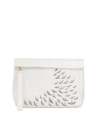 Nancy Gonzalez Painted Cranes Crocodile Wristlet Bag White