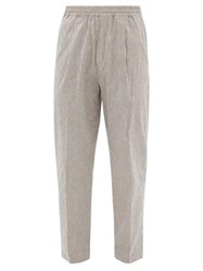 The Gigi King Striped Drawstring Cotton Blend Trousers Grey White