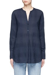Vince Check Plaid Tencel Blend Tunic Blue