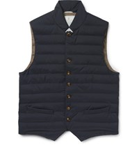 Brunello Cucinelli Quilted Waterproof Shell Gilet Navy