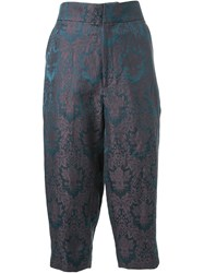 Aganovich Baroque Jacquard Cropped Trousers Green
