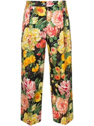 Dolce And Gabbana Floral Cropped Trousers Black