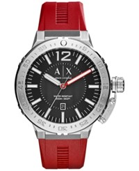 Armani Exchange Ax Men's Red Silicone Strap Watch 48Mm Ax1811
