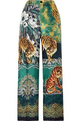 F.R.S For Restless Sleepers Printed Silk Twill Straight Leg Pants Green