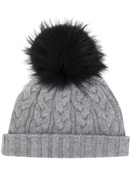 N.Peal Cable Knit Hat Grey