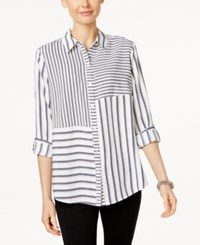 Charter Club Striped Roll Tab Shirt Only At Macy's Cloud Combo