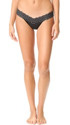 Hanky Panky Heather Jersey Low Rise Thong Black Heather
