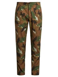 Etudes Archives Mid Rise Tapered Leg Cotton Trousers Green Multi
