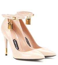 Tom Ford Embellished Patent Leather Pumps Neutrals