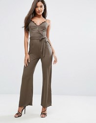 Lipsy Michelle Keegan Loves Satin Jumpsuit With Lace Insert Green