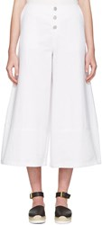 See By Chloe White Cropped Wide Leg Trousers
