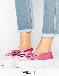Asos Discover Wide Fit Bow Trainers Pink Velvet