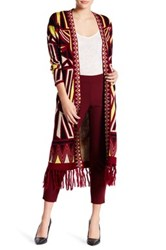 Romeo And Juliet Couture Printed Fringe Cardigan Red