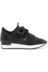 Balenciaga Race Runner Metallic Stretch Knit And Leather Sneakers Black