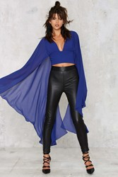 Nasty Gal Kimono Possible Cape Top Blue
