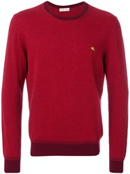 Etro Contrasting Crew Neck Sweater Men Cashmere Wool Xl Red