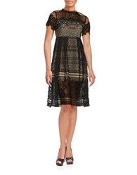 Design Lab Lord And Taylor Crochet Overlay Illusion Dress Black