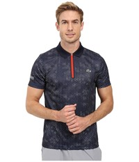Lacoste T1 Short Sleeve Printed Ultra Dry W Zipper Placket Navy Blue White Corrida Men's Clothing
