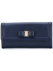 Salvatore Ferragamo Fold Over Wallet Women Calf Leather One Size Blue