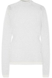 Balmain Sequin Embellished Open Knit Top White
