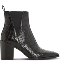 Dune Pancras Crocodile Effect Leather Ankle Boots Black Croc