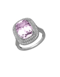 Lord And Taylor Sterling Silver Pink Amethyst And White Topaz Ring Pink Amethyst Silver