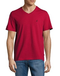 Nautica Slim Fit Striped V Neck Tee Nautical Red