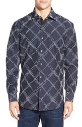 Men's Bugatchi Shaped Fit Long Sleeve Grid Pattern Sport Shirt
