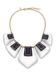 Alexis Bittar Sport Deco Lucite And Crystal Articulated Bib Necklace Gold Multi
