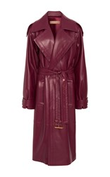 Michael Kors Collection Oversized Leather Trench Coat Burgundy
