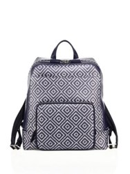 Salvatore Ferragamo Geometric Calfskin Leather Backpack Blue Sand