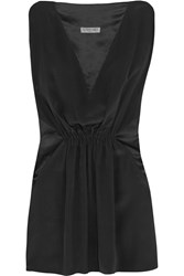 Vionnet Paneled Satin Crepe And Silk Organza Top Black