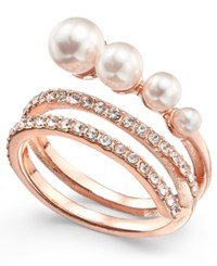 Inc International Concepts Rose Gold Tone Pave And Imitation Pearl Wrap Ring Created For Macy's
