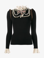 Gucci Jumper With Mink Pearls And Crystal Embellishment Black Cream Brown Mink Pearl