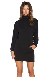 Clayton French Terry Slouchy Turtleneck Dress Black