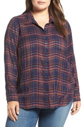Lucky Brand Back Overlay Plaid Shirt Plus Size Blue