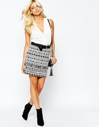 Oasis Mono Print Mini Skirt Blackandwhite