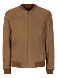 Topman Selected Homme Brown Suede Bomber Jacket