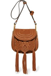 Chloe Hudson Small Whipstitched Leather And Suede Shoulder Bag Tan