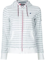 Loveless Striped Zip Hoodie Women Cotton Polyester 36 White