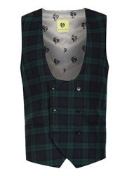 Topman Noose And Monkey Green And Navy Check Suit Waistcoat