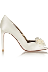 Lanvin Bow Embellished Satin Pumps