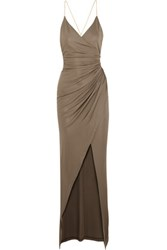 Balmain Embellished Gathered Stretch Jersey Maxi Dress Mushroom