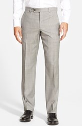 Men's Ted Baker London 'Jefferson' Flat Front Wool Trousers Light Grey